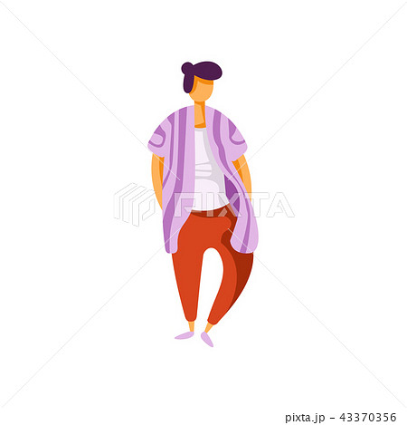 Stylish fashionable young man wearing modern clothes vector Illustration on a white background 43370356