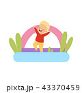 Cute little boy jumping on inflatable trampoline vector Illustration on a white background 43370459