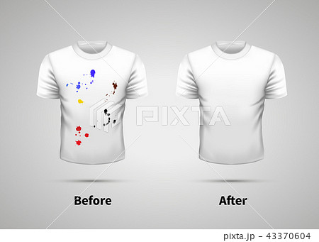 Dirty and clean white t-shirt, washing efficiency 43370604