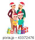 Christmas Family Portrait Vector. Dad, Mother, Kids. In Santa Hats. Winter Holidays. Cheerful 43372476