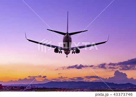 夕景の大阪伊丹空港に着陸する飛行機 43373746