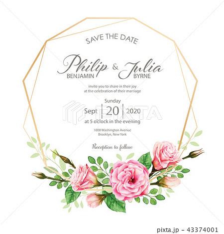 Flower Wedding Invitation Card 花模様結婚式招待状水彩画の