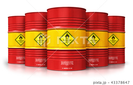 Group of red oil drums isolated white background 43378647