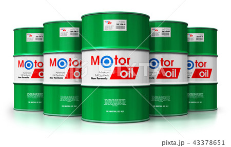 arrels with motor oil lubricant isolated on white 43378651