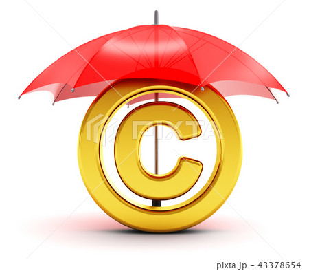 Golden copyright symbol covered by red umbrella 43378654