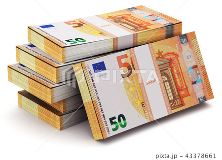 Stacks of 50 Euro banknotes 43378661