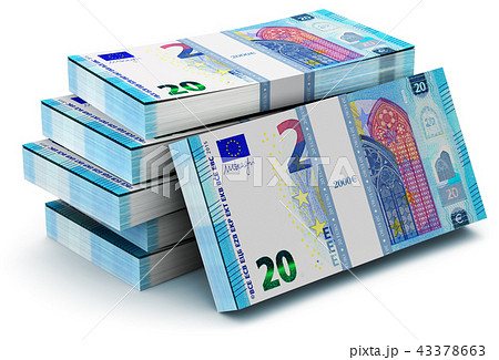 Stacks of 20 Euro banknotes 43378663
