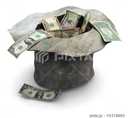 Beggar's hat with money isolated on white 43378665