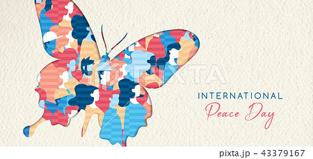 World Peace Day banner cutout for people unity 43379167