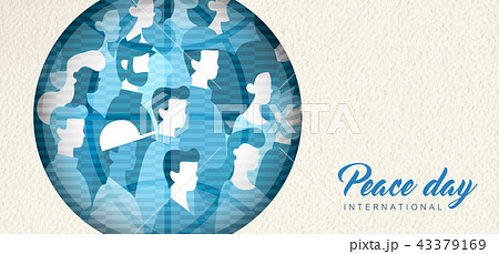 World Peace Day banner cutout for people unity 43379169