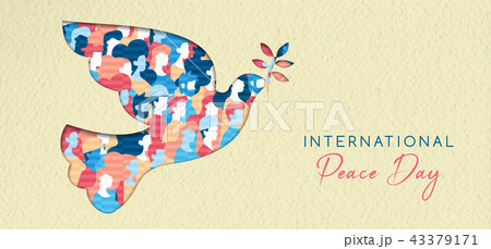 World Peace day card for diverse people unity 43379171