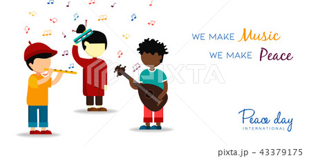 World Peace Day card of children making music 43379175