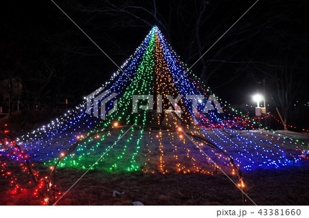 群馬県榛名湖のクリスマスイルミネーションフェスティバル、抽象的なきらきらした装飾、ピンぼけの光 43381660