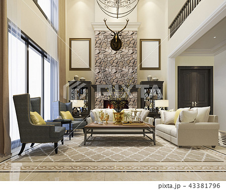 luxury and modern classic living room european のイラスト素材