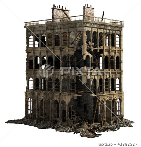 Ruined Building Isolated On White 3D Illustration 43382527