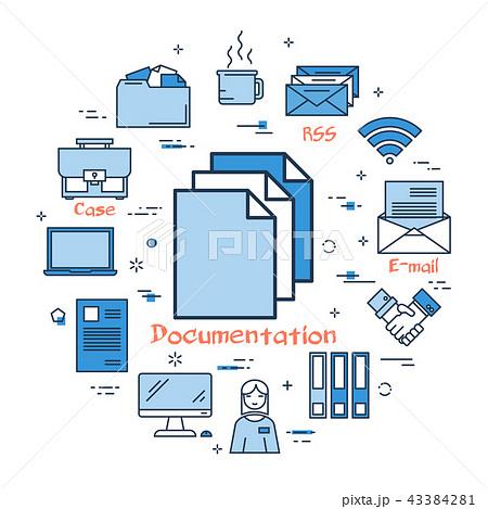 blue round documentation conceptのイラスト素材 43384281 pixta