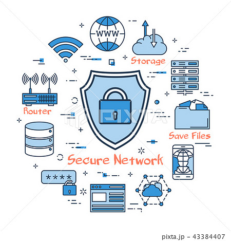 Blue round Secure Network concept 43384407