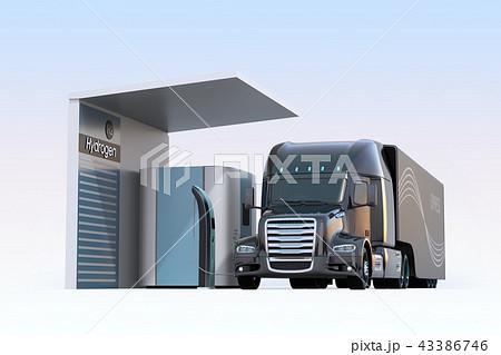 水素ステーションに水素充填中のトラックのイメージ 43386746
