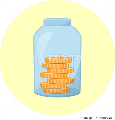 Glass jar icon with coins inside, bank with money 43400538