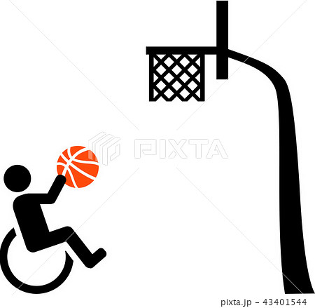 wheelchair basketball with basket iconのイラスト素材 43401544 pixta