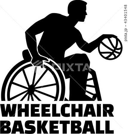 wheelchair basketball silhouette with wordのイラスト素材 43401548