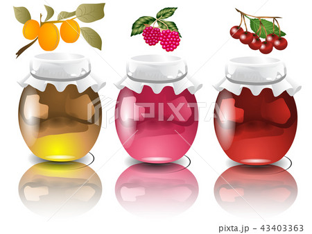 three jars with  jam 43403363