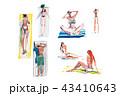人々 人物 ビーチのイラスト 43410643