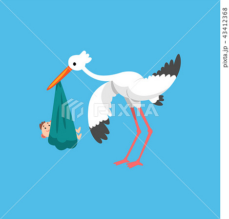white stork carrying newborn baby template for baby shower banner