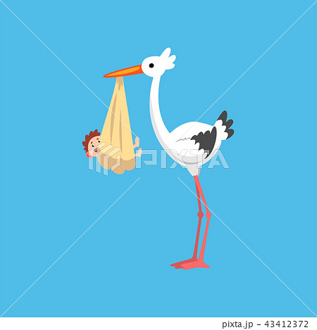 white stork delivering a newborn baby stork with a bundle template