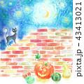 ハロウィン 月 黒猫のイラスト 43413021