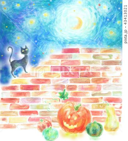 ハロウィン 夜 月 星空 黒猫 ランタン 43413021