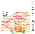 ハロウィン 黒猫 レンガのイラスト 43413022