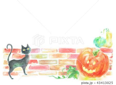ハロウィン コピースペース 黒猫 ランタン 43413025