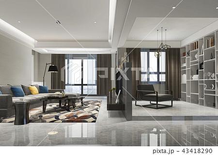 loft luxury living room with bookshelf 43418290
