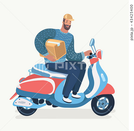 Transport, man courier is riding motorbike. 43425400