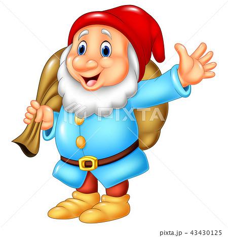 Cartoon happy dwarf carrying sack 43430125
