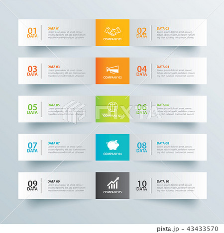 infographics tab paper index with 10 data templateのイラスト素材