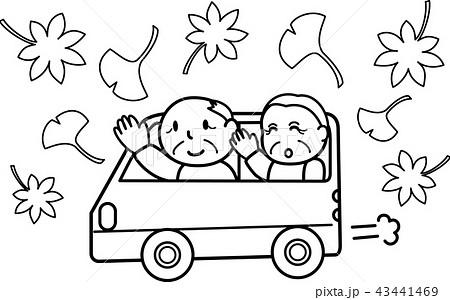 おばあちゃんおじいちゃんドライブ 秋の行楽 紅葉狩り シニア 白黒線画