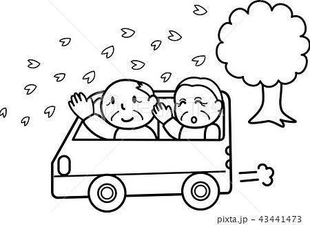 おばあちゃんおじいちゃんドライブ 春の行楽 お花見 シニア 白黒線画ぬり