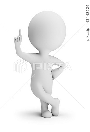 3d small people - forefinger up 43442524