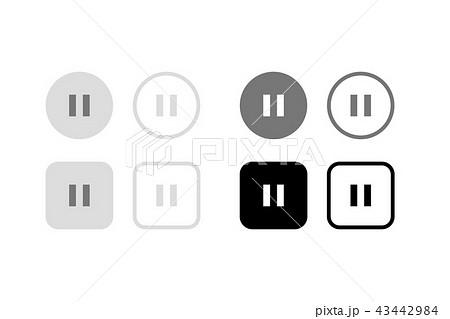 一時停止ボタン。グラフィック素材、UI、アプリデザインパーツ 43442984