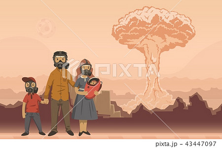 Family in gas masks on nuclear explosion background. Futuristic apocalyptical scene. Flat vector 43447097
