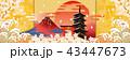 富士山 桜 鳥居のイラスト 43447673