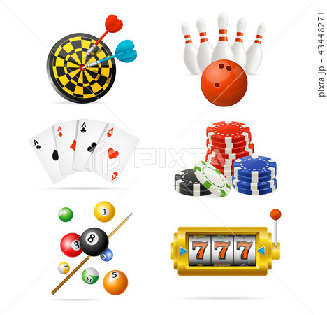 Realistic Detailed 3d Casino Sport and Leisure Games Icon Set. Vector 43448271