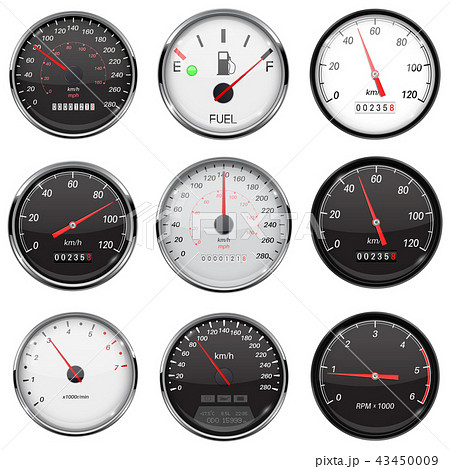 Car dashboard gauges. With metal frame. Collection of speed, fuel devices 43450009