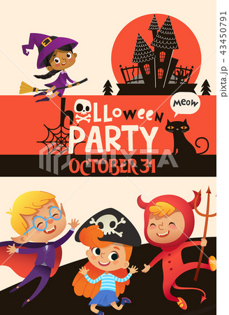 halloween party invitation template with adorable joyful kids