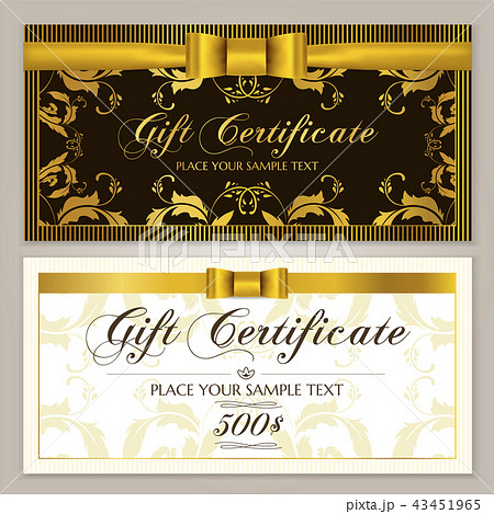 gift certificate template gift voucher layoutのイラスト素材