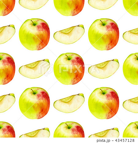 Watercolor seamless pattern with apples 43457128