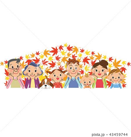 紅葉 三世代家族 笑顔 家 43459744