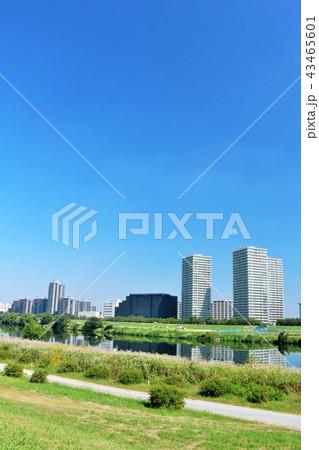 青空の街並みと川沿いの風景 43465601